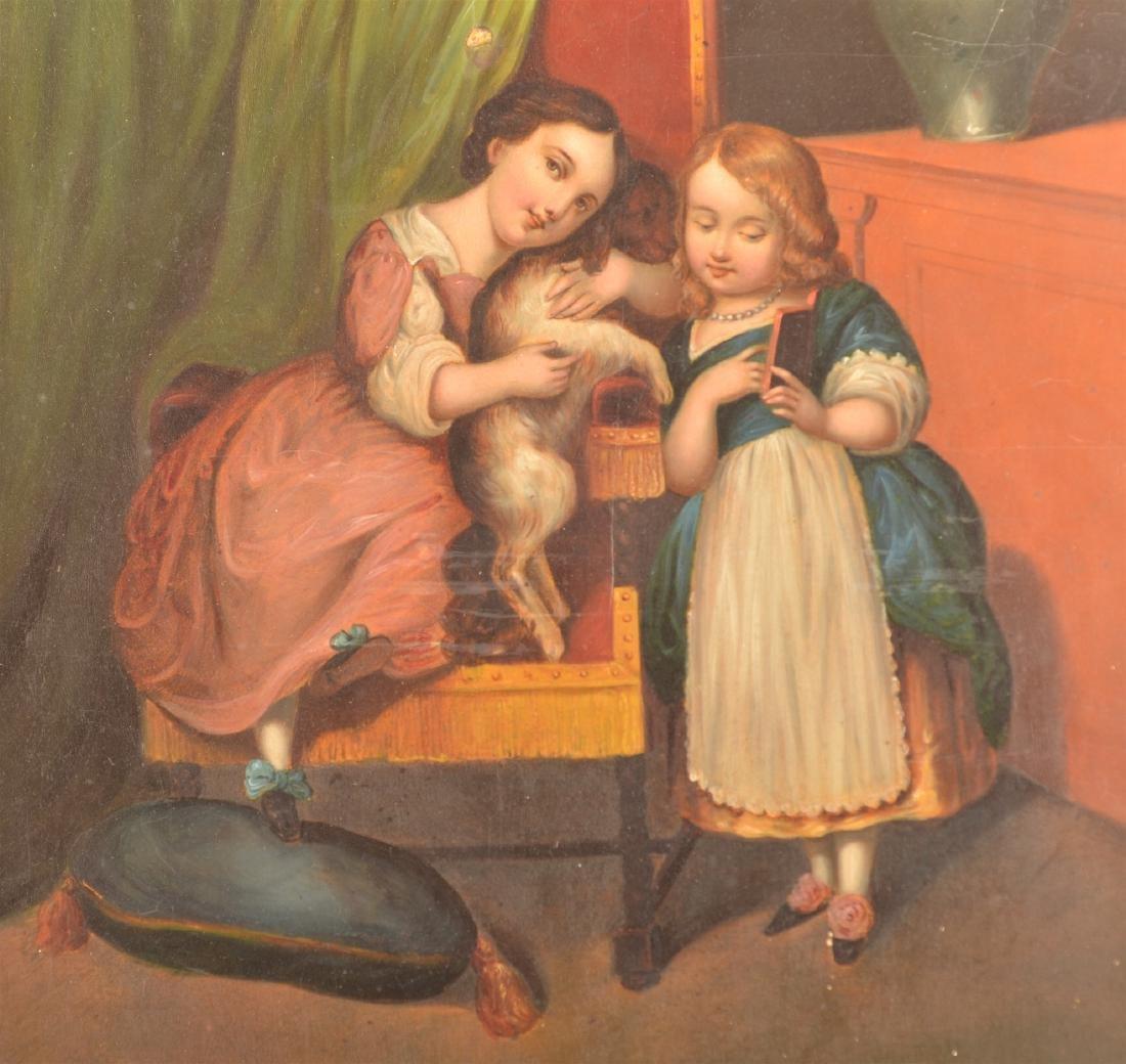 19th Century Interior Scene Painting on Tin. - 2