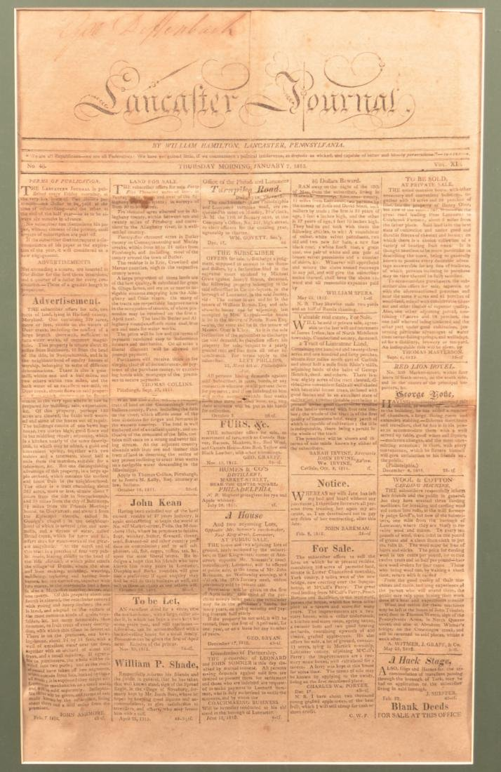 Framed Page from the 1813 Lancaster Journal.