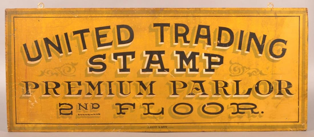 UNITED TRADING STAMP Double Sided Trade Sign.