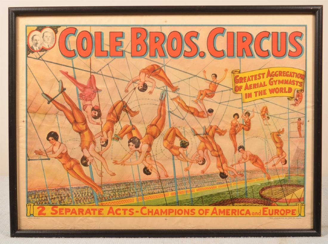 Vintage Cole Bros. Acrobats Circus Poster.