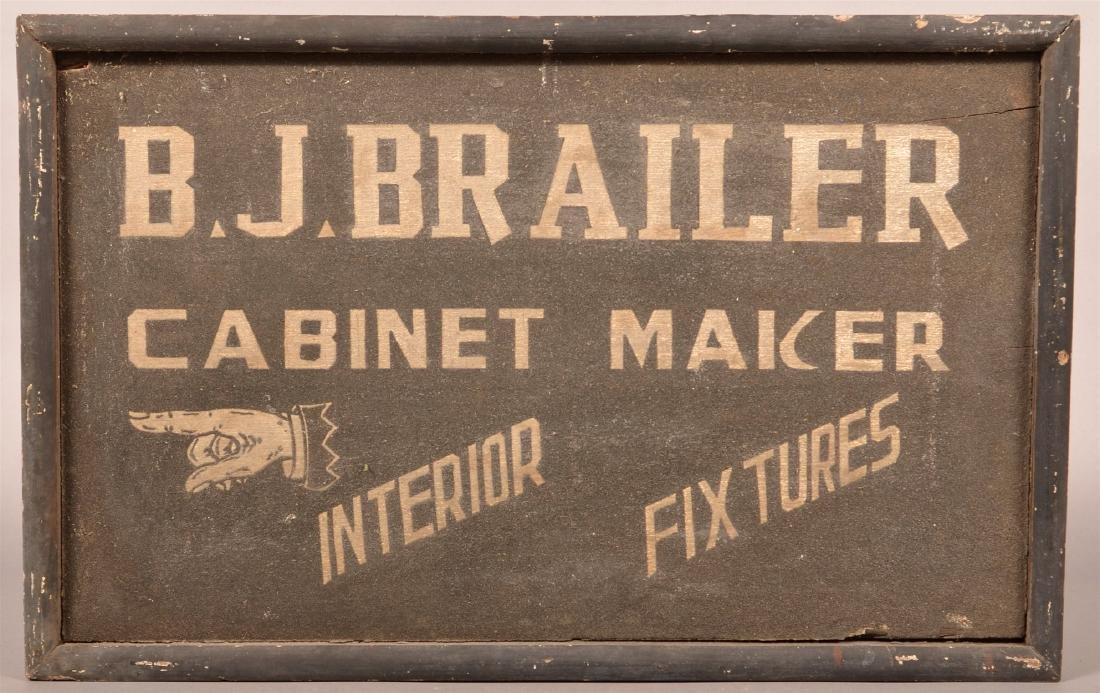 """B.J. BRAILER, CABINET MAKER"" Trade Sign."