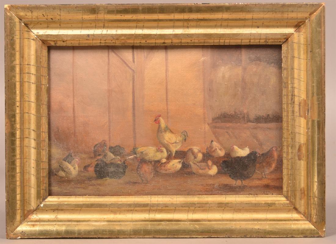 1857 Oil on Canvas Barnyard Scene Painting.