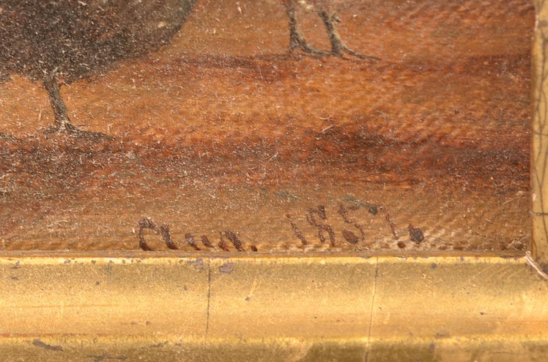 1857 Oil on Canvas Barnyard Scene Painting. - 2