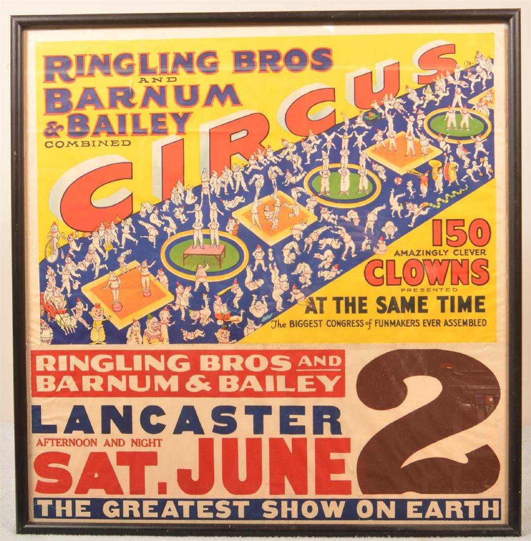 Vintage Ringling Bros. 150 Clowns Circus Poster.