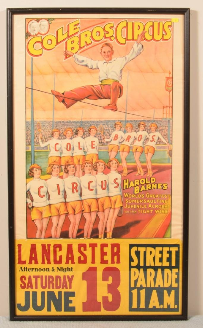 Vintage Cole Bros. Somersaulting Circus Poster.
