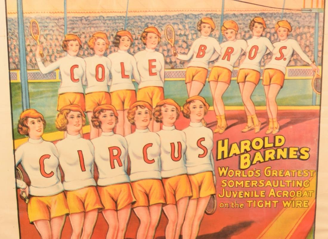 Vintage Cole Bros. Somersaulting Circus Poster. - 2