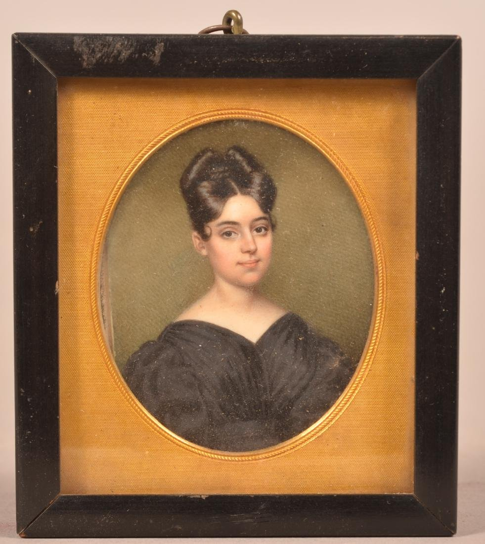 Miniature Portrait Painting of a Young Lady.