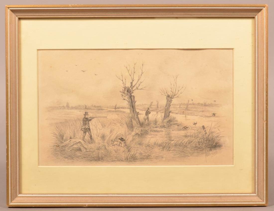 Pencil Drawing Depicting a Snipe Shooting Scene.