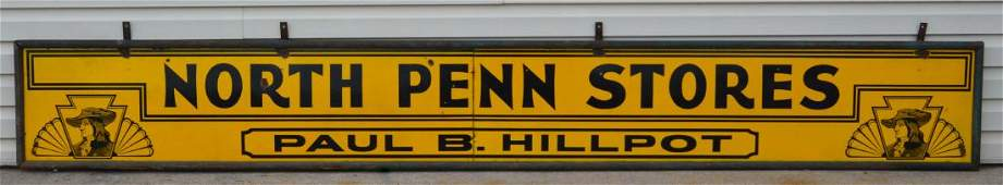 """Large """"NORTH PENN STORES"""" Enameled Sign."""