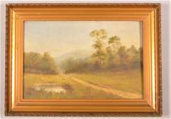 Antique Oil on Academy Board Landscape Painting.