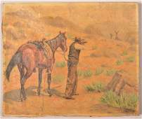 GL Hoyt Oil on Canvas Hunting Scene Painting
