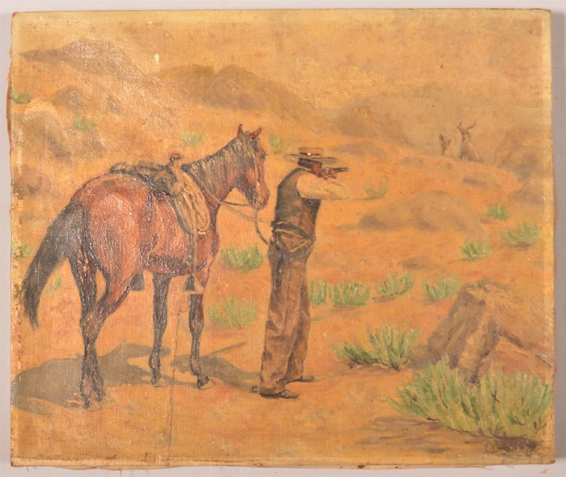 G.L. Hoyt Oil on Canvas Hunting Scene Painting.