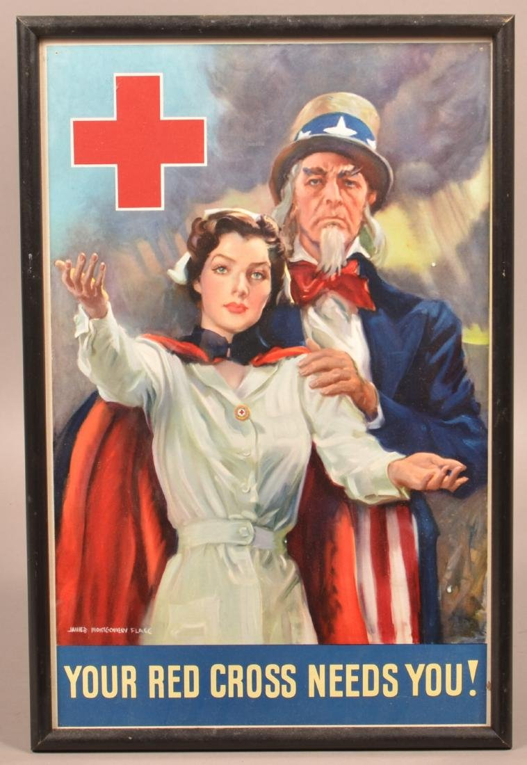 J.M. Flagg Uncle Sam & Nurse Red Cross Poster.