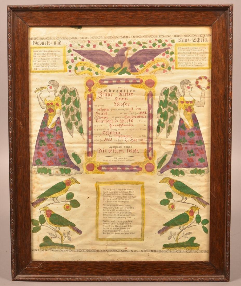 1851 Printed  Birth and Baptismal Certificate.