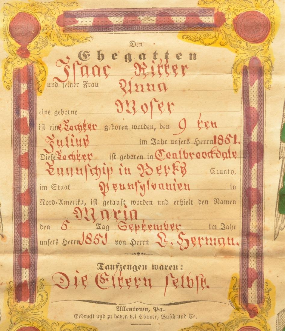 1851 Printed  Birth and Baptismal Certificate. - 2