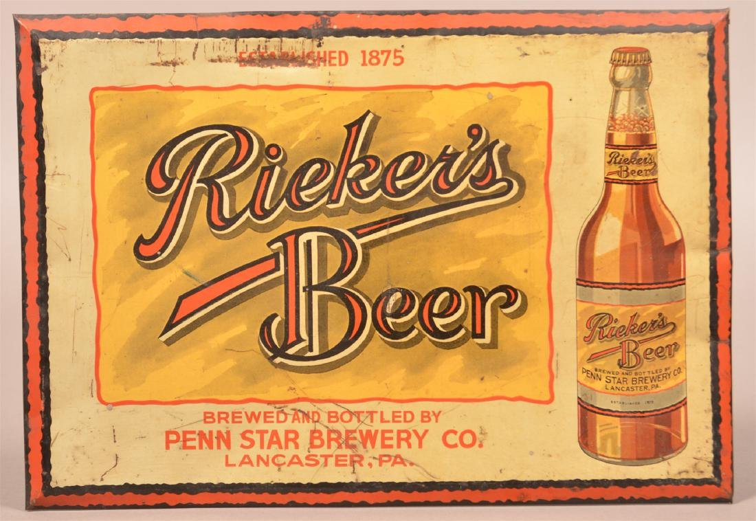 Rieker's Beer Tin Lithograph Advertising Sign.