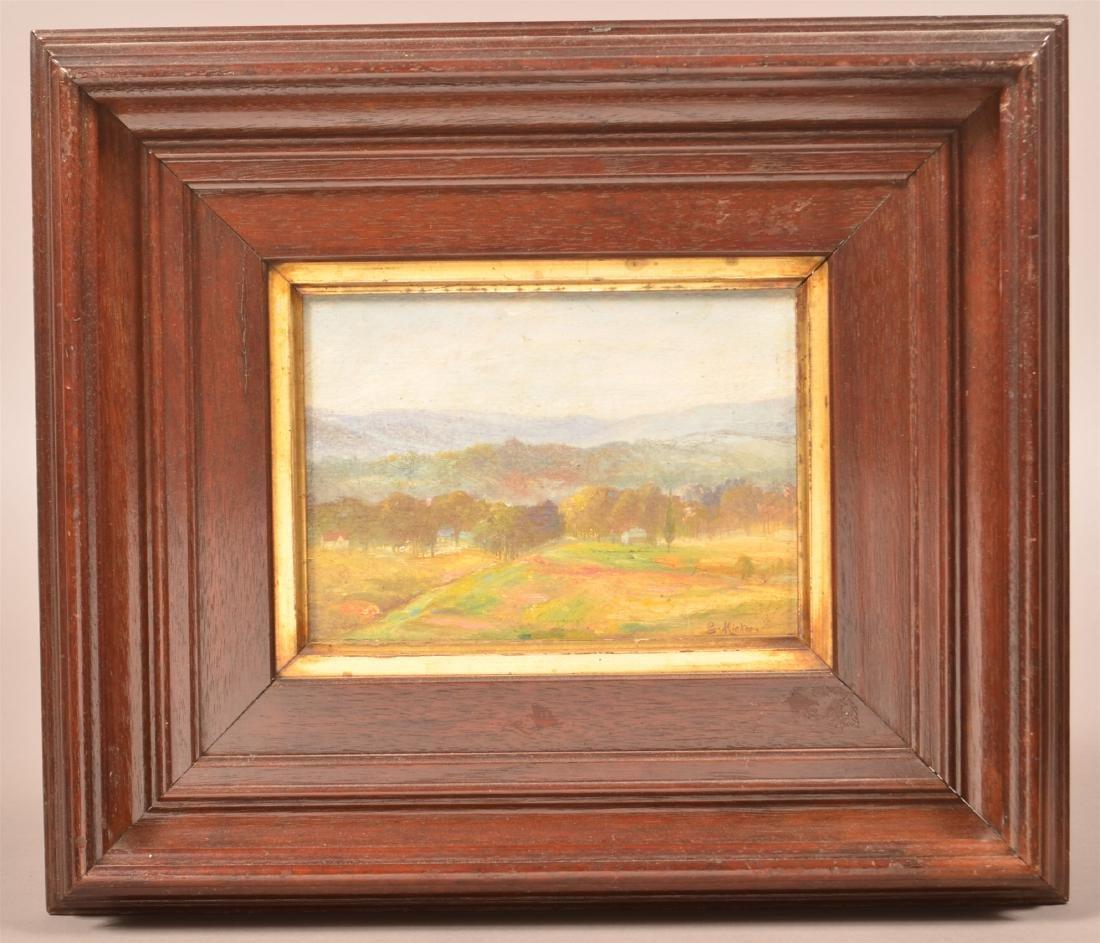 Oil on Canvas Board Barbizon Landscape.