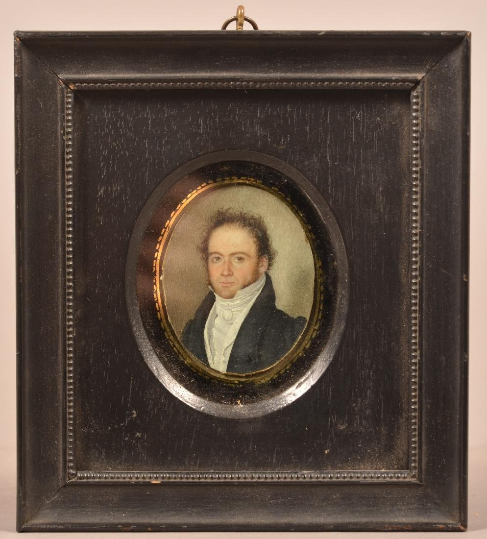 Miniature Oval Portrait Painting of a Gentleman.