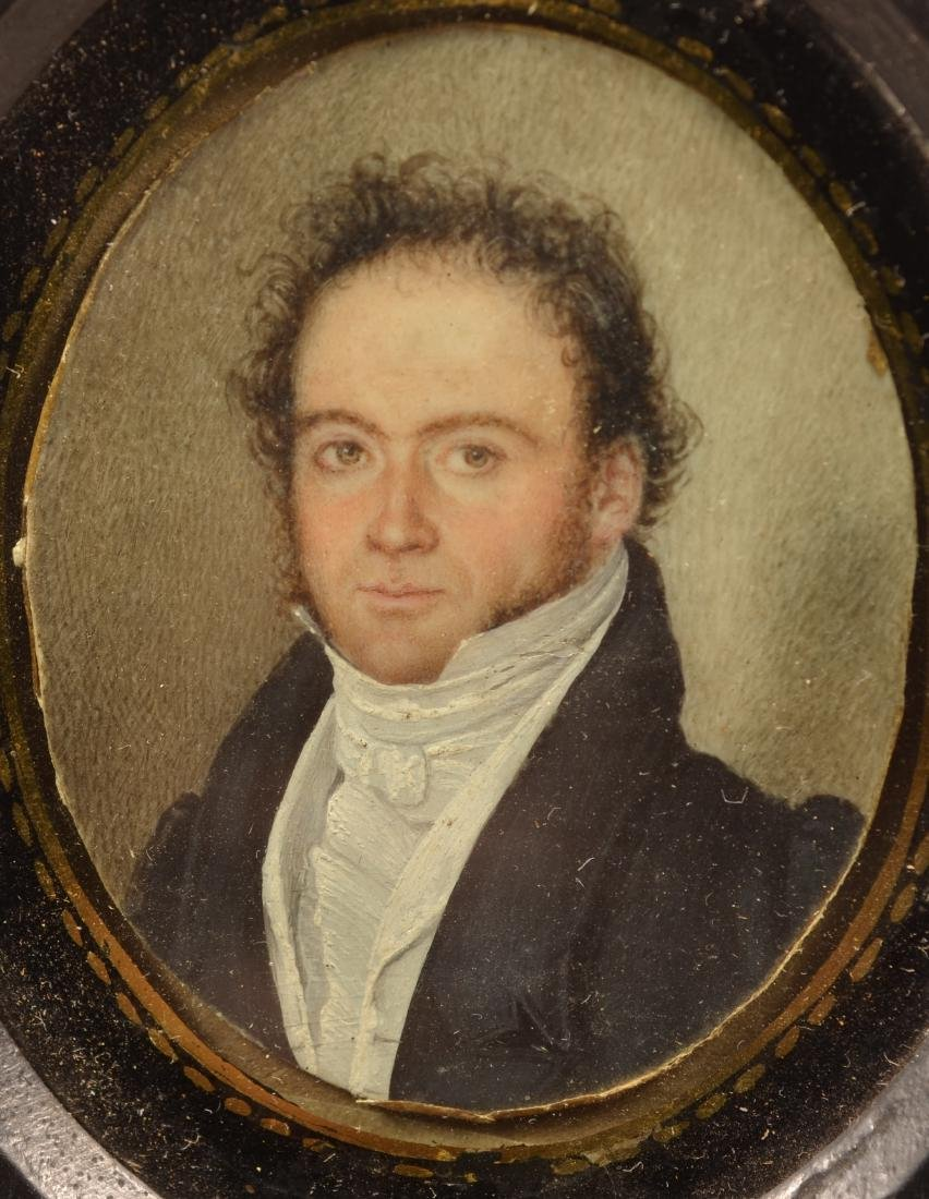 Miniature Oval Portrait Painting of a Gentleman. - 2