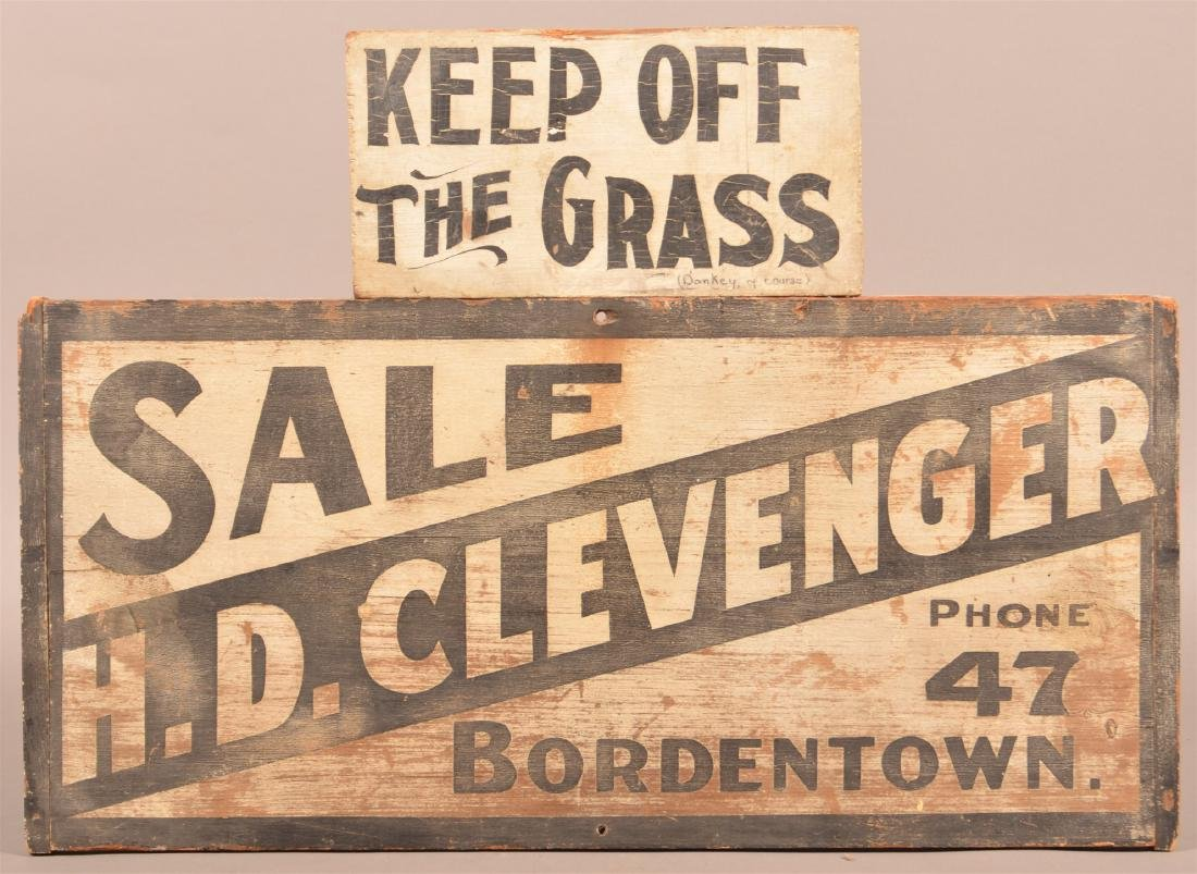 Two Vintage Black and White Painted Wood Signs.