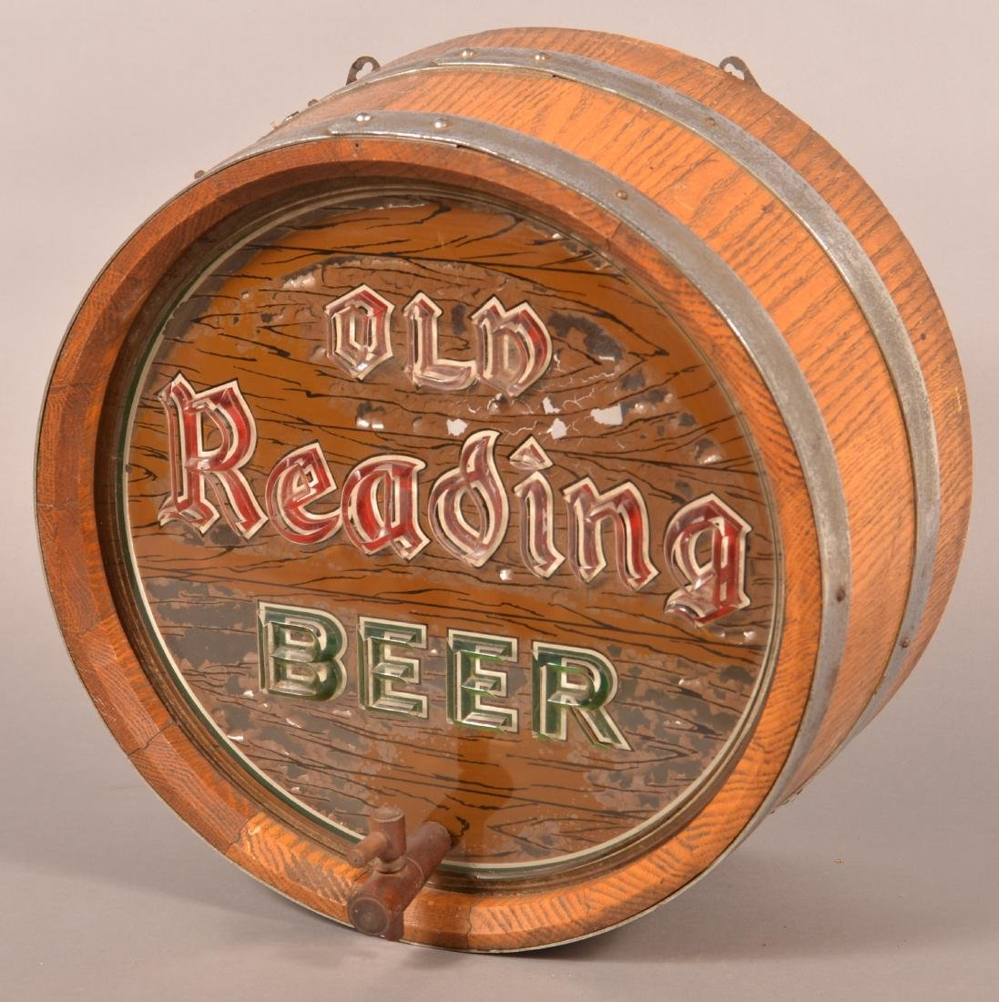 """OLD READING BEER"" Advertising Barrel Light."