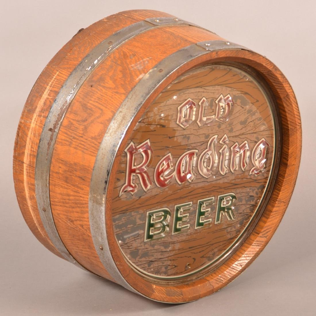 """OLD READING BEER"" Advertising Barrel Light. - 3"