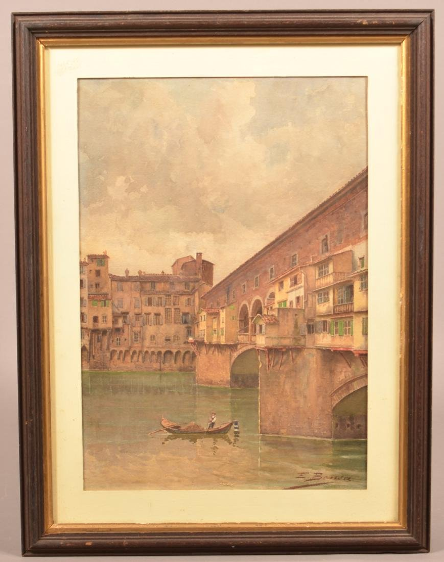 E. Bansa Watercolor Painting of Ponte Vecchio.