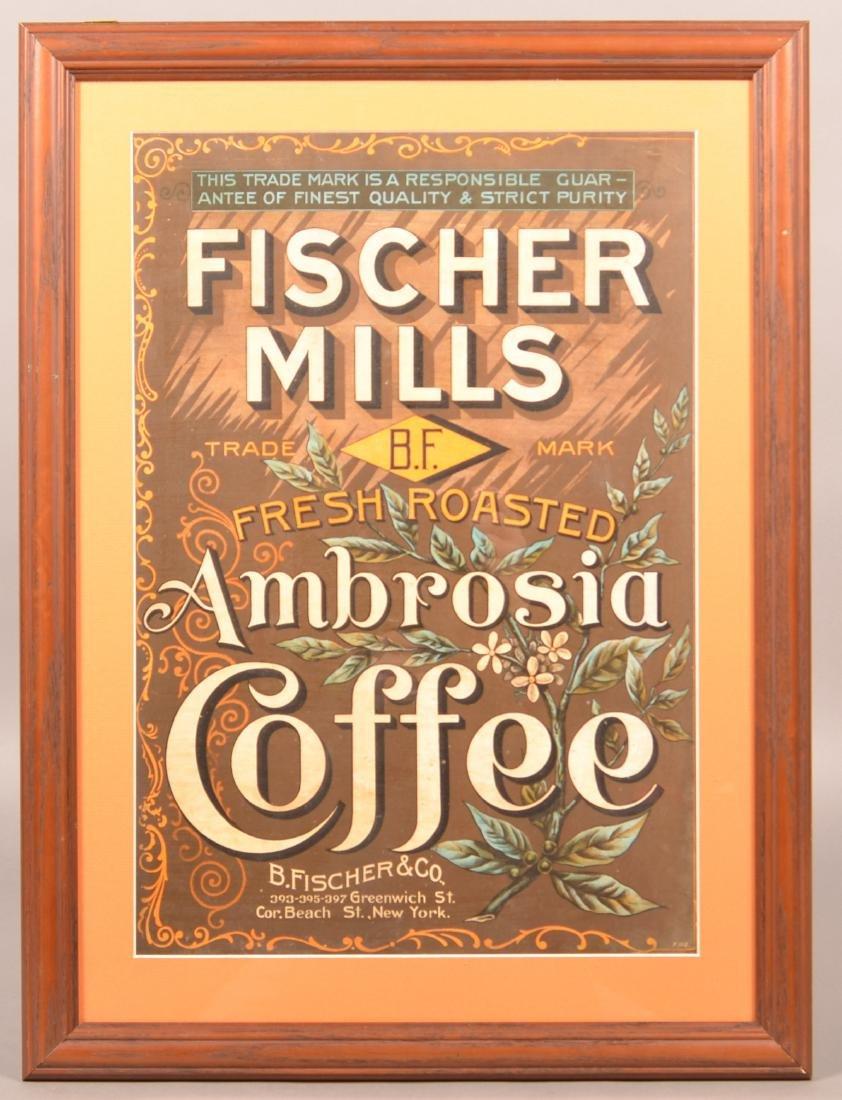 Fischer Mills Ambrosia Coffee Framed Advertising.