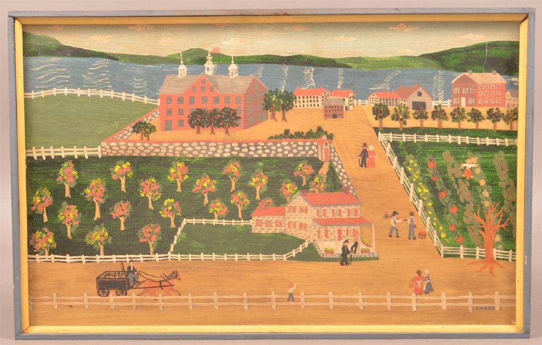 "Folk Art Landscape Painting Signed ""CICORA""."