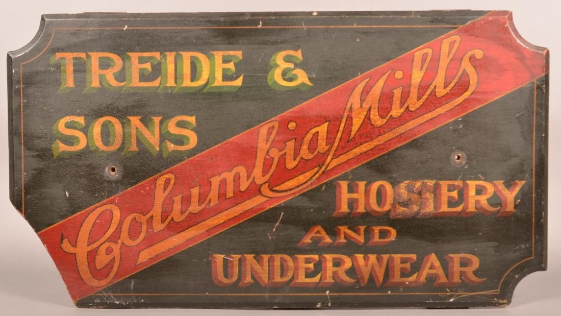 """Columbia Mills"" Painted Wood Trade Sign."