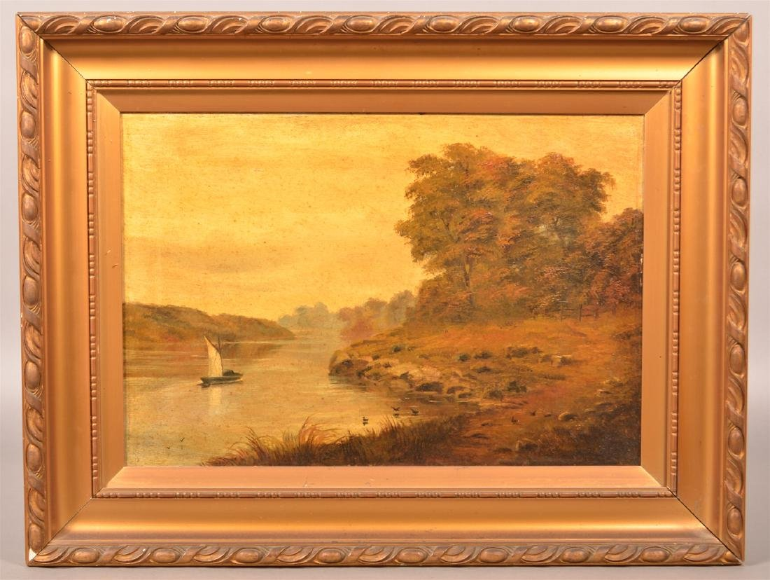 19th Century Oil on Canvas Landscape Painting.