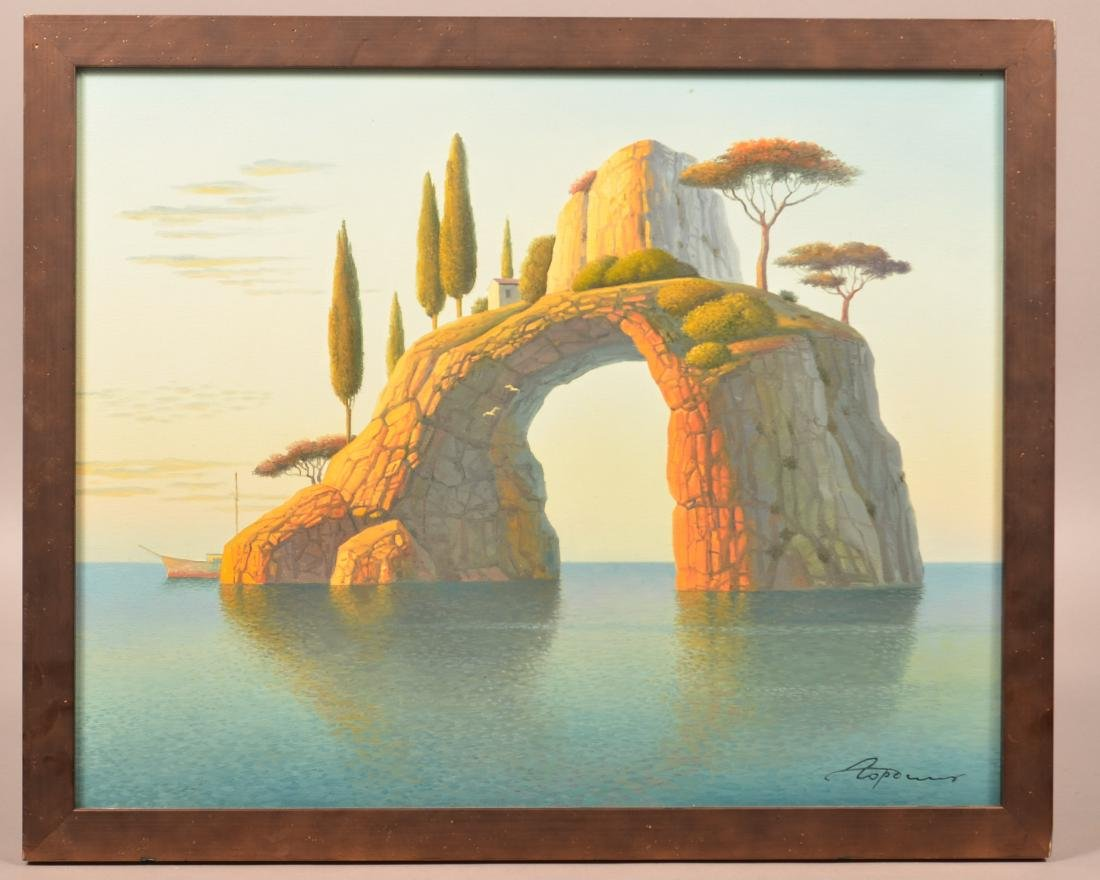 E. Gordiets Oil on Canvas Arch Island Painting.
