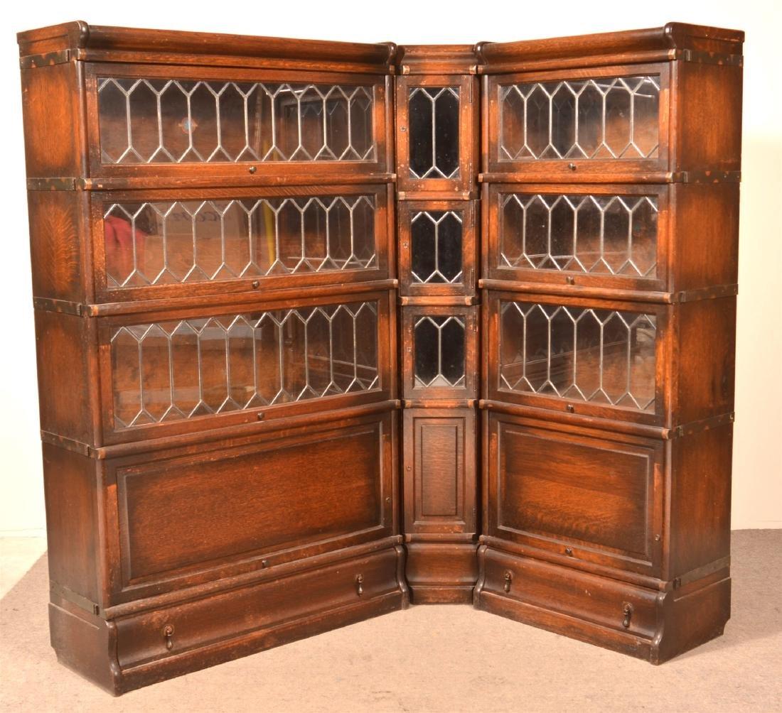 Rare Globe-Wernicke Oak Corner Unit Bookcase.
