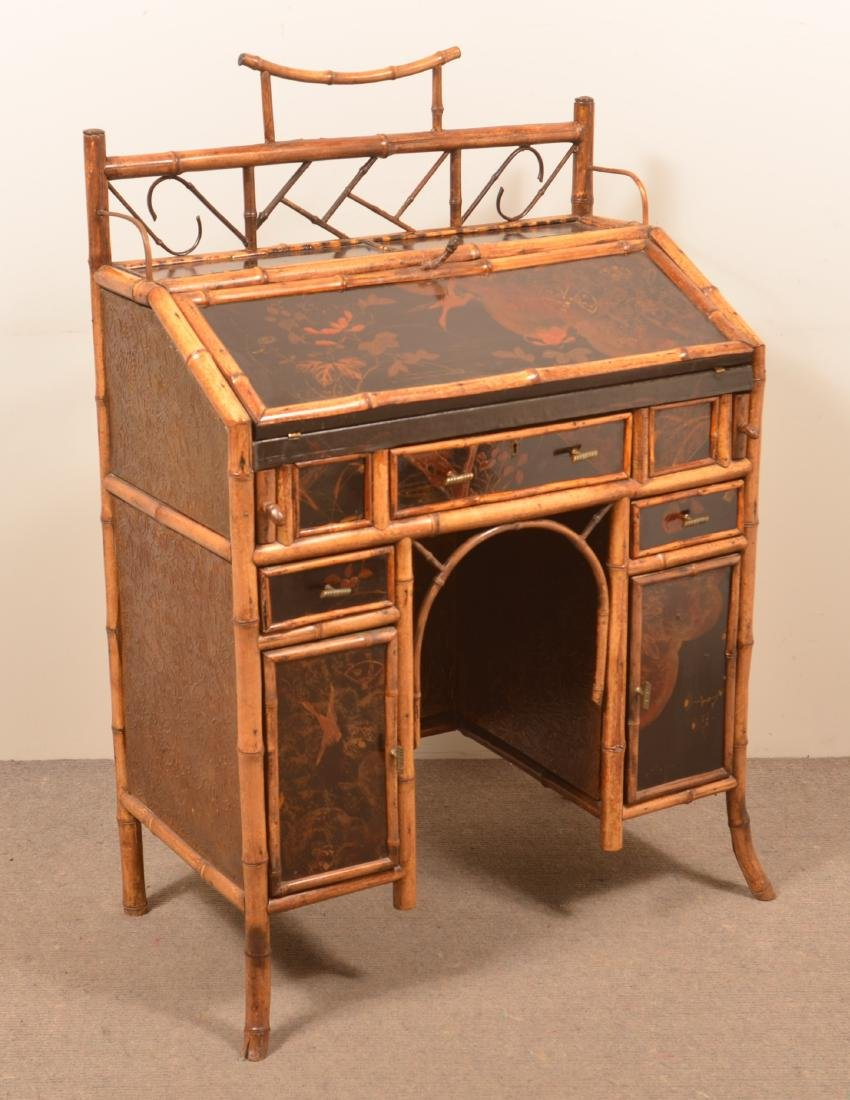 Antique Bamboo Ladies Knee-hole Desk.