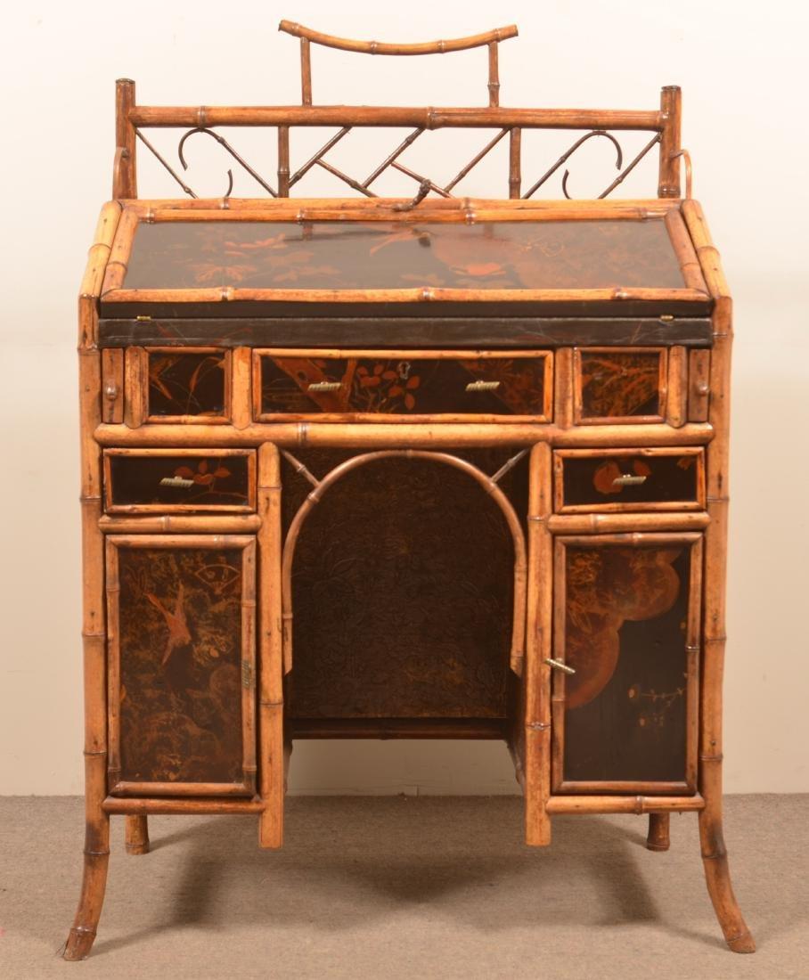 Antique Bamboo Ladies Knee-hole Desk. - 2