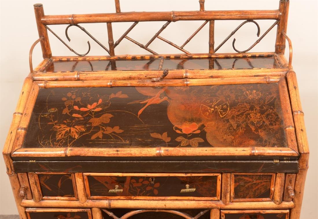 Antique Bamboo Ladies Knee-hole Desk. - 3