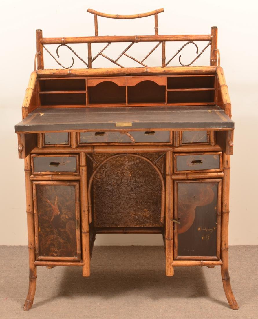 Antique Bamboo Ladies Knee-hole Desk. - 4