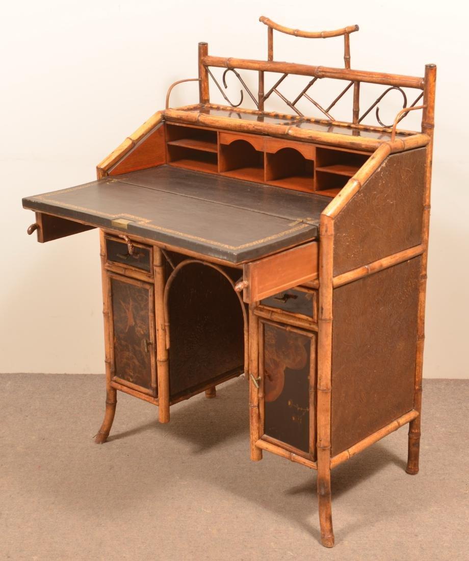Antique Bamboo Ladies Knee-hole Desk. - 5