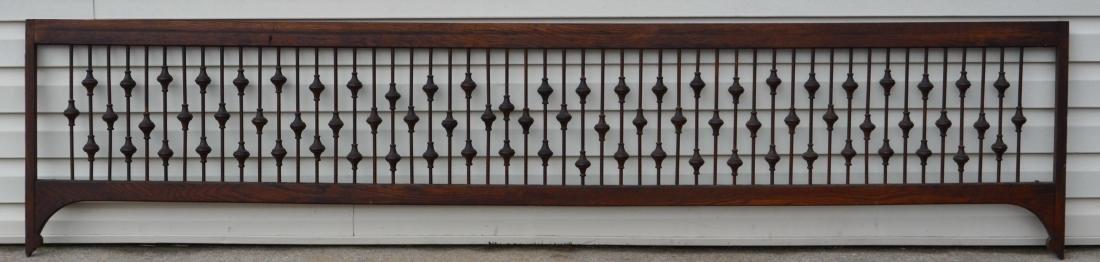 Antique Oak Spindle Trellis Transom.