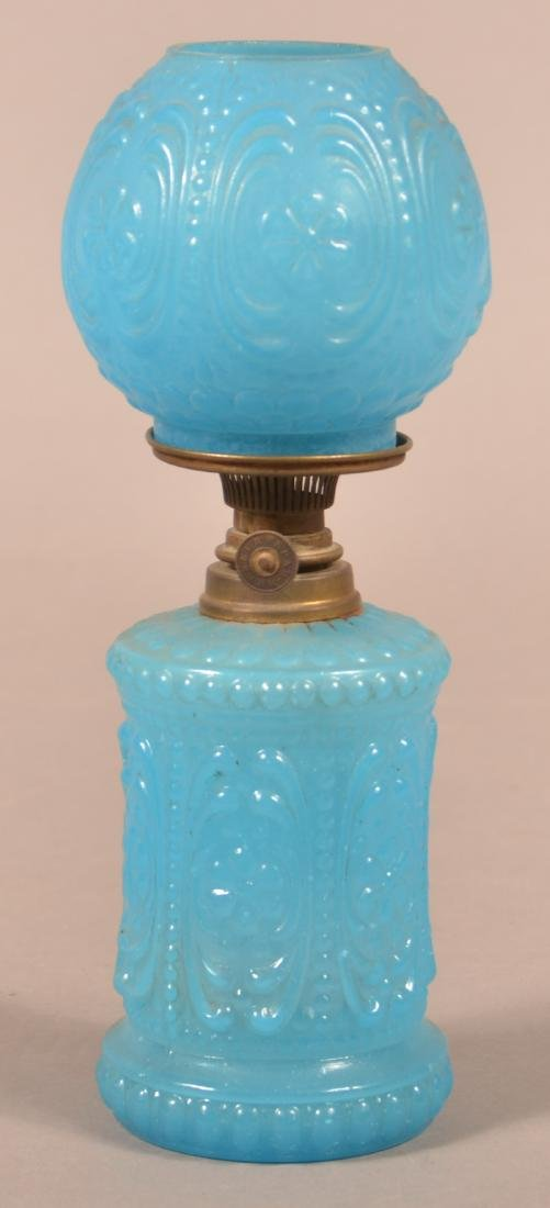 Blue Opaline Floral & Scroll Miniature Fluid Lamp.