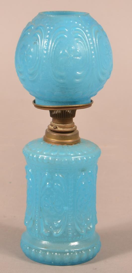 Blue Opaline Floral & Scroll Miniature Fluid Lamp. - 2
