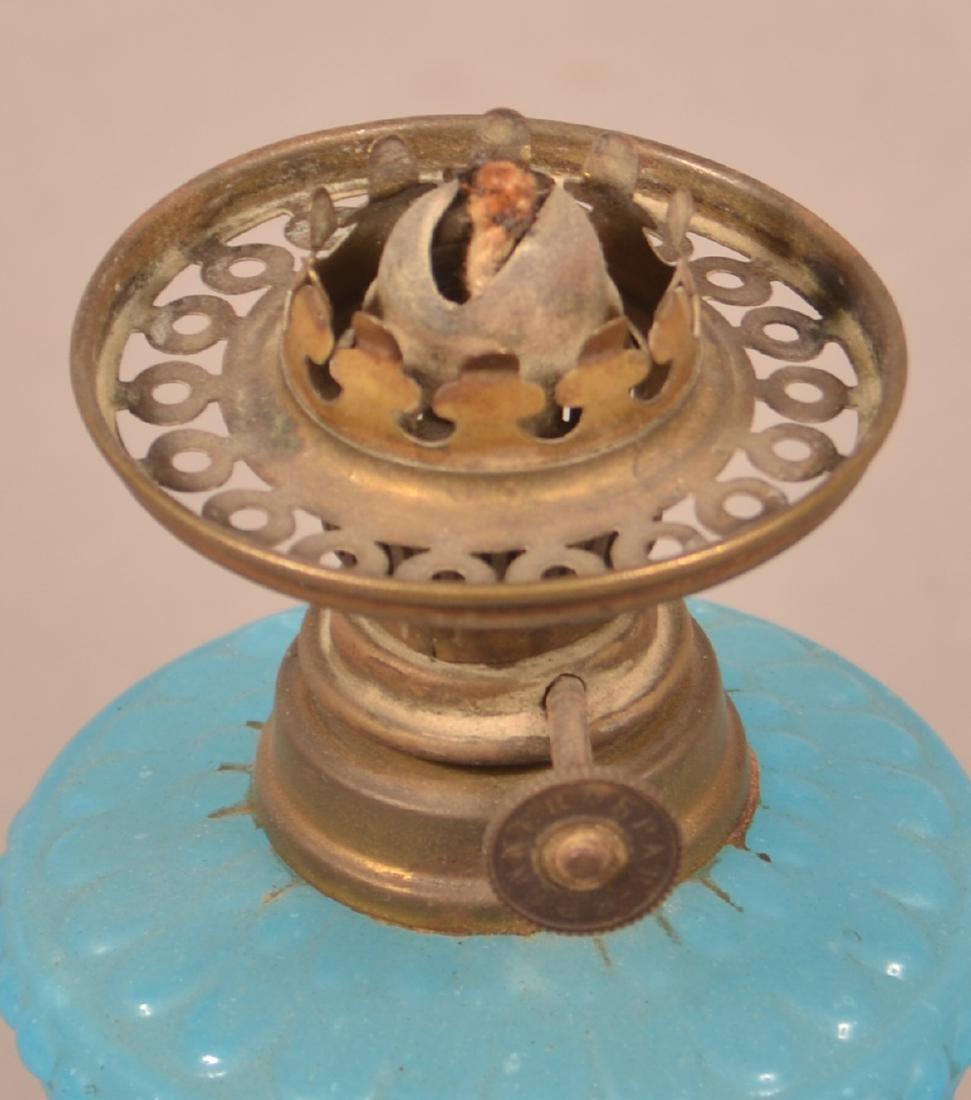Blue Opaline Floral & Scroll Miniature Fluid Lamp. - 3