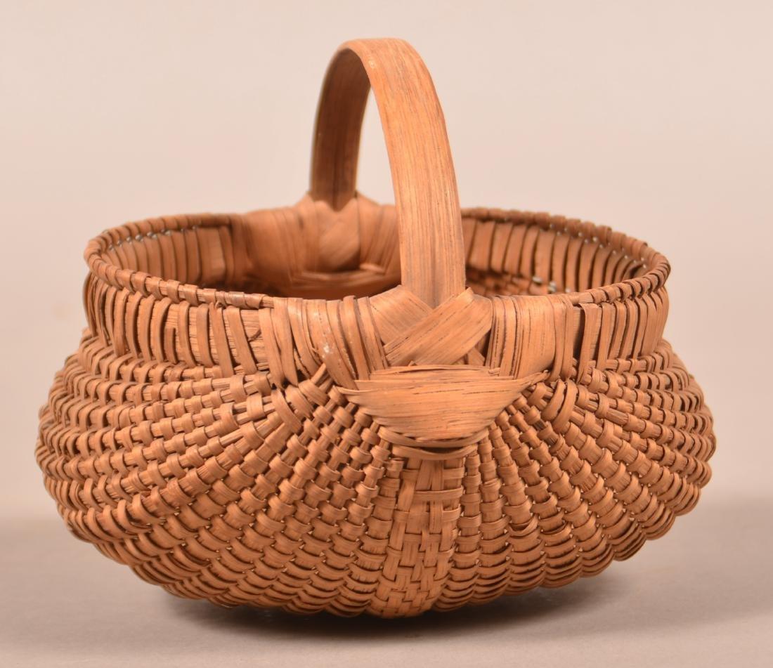 Antique Oak Splint Orsch Backe Berry Basket.
