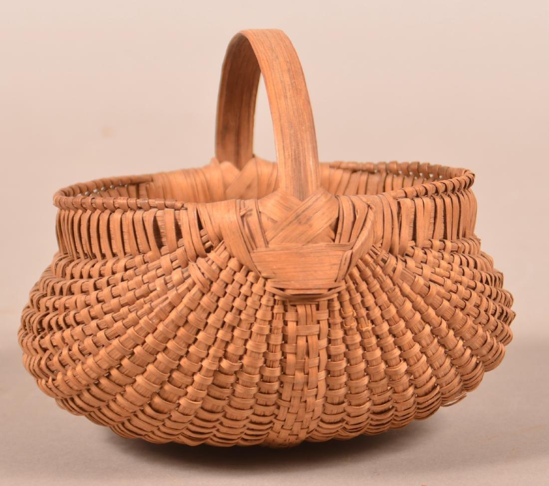 Antique Oak Splint Orsch Backe Berry Basket. - 2