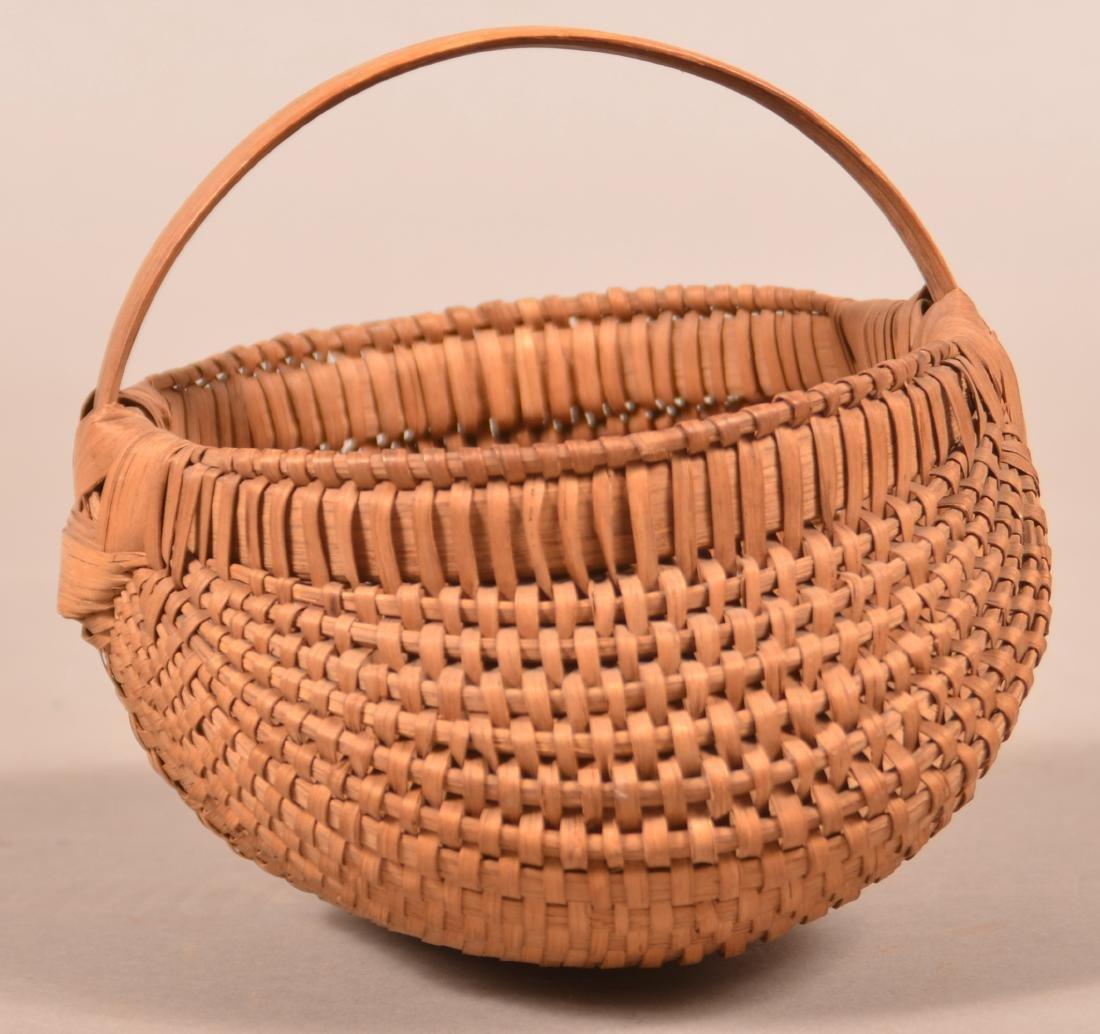 Antique Oak Splint Orsch Backe Berry Basket. - 3