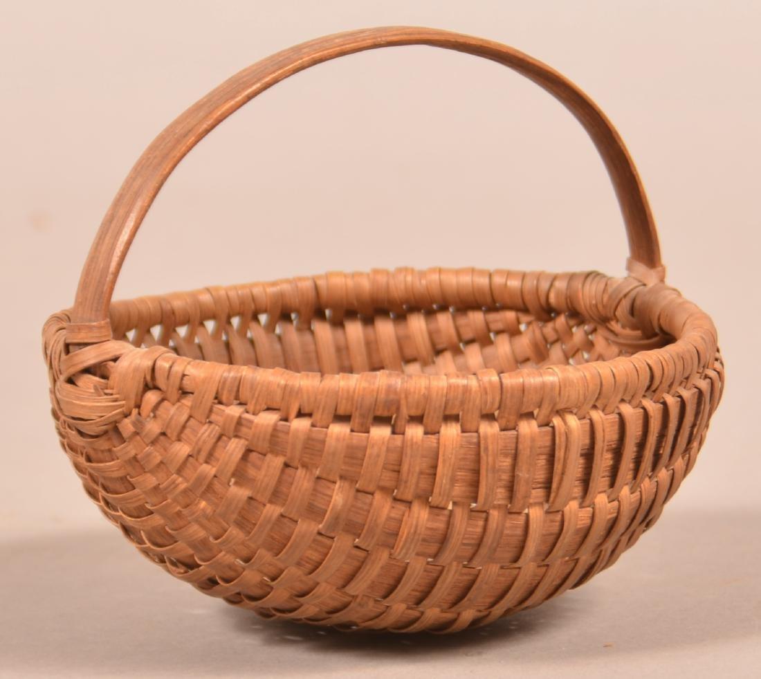 Antique Oak Splint Melon Form Berry Basket.