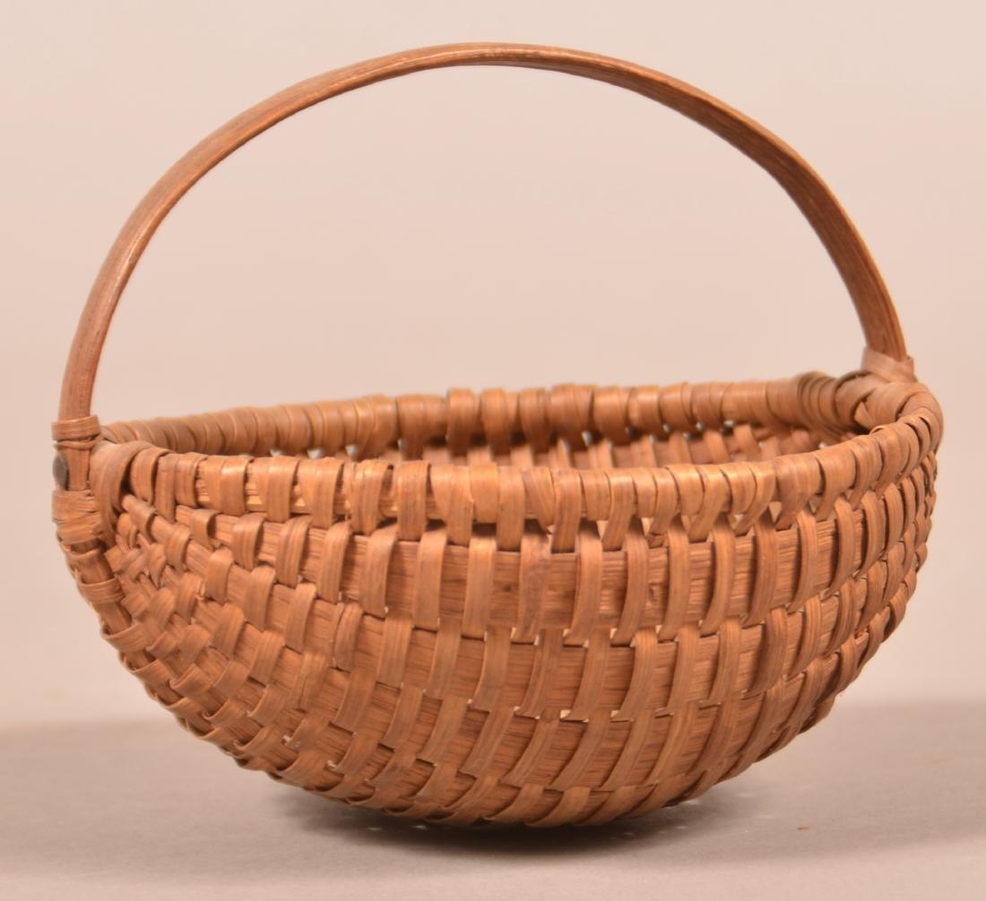 Antique Oak Splint Melon Form Berry Basket. - 2