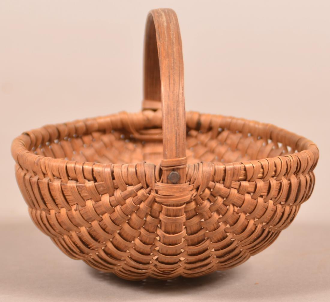Antique Oak Splint Melon Form Berry Basket. - 3