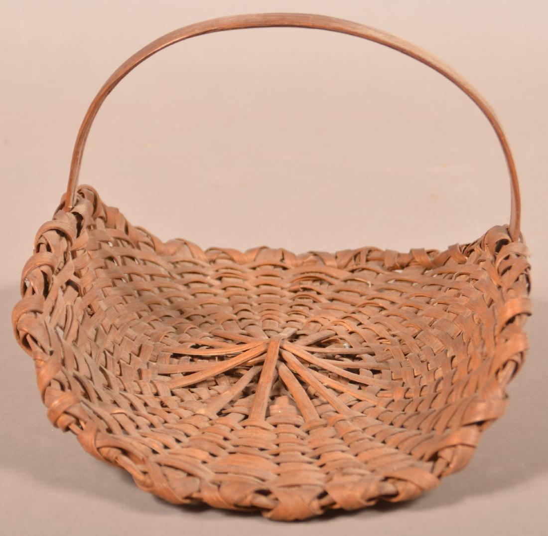 Antique Oak Splint flower/Herb Gathering Basket. - 3