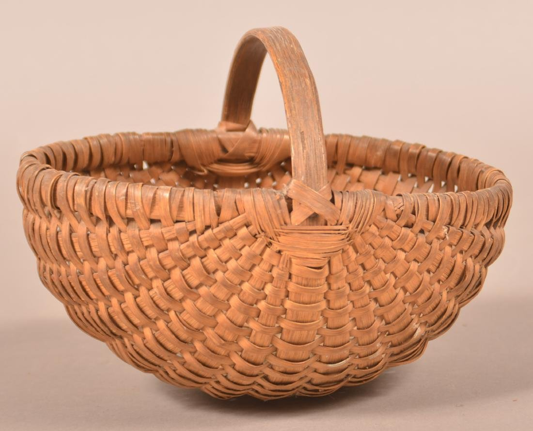 Antique Oak Splint Melon Form Egg Basket.